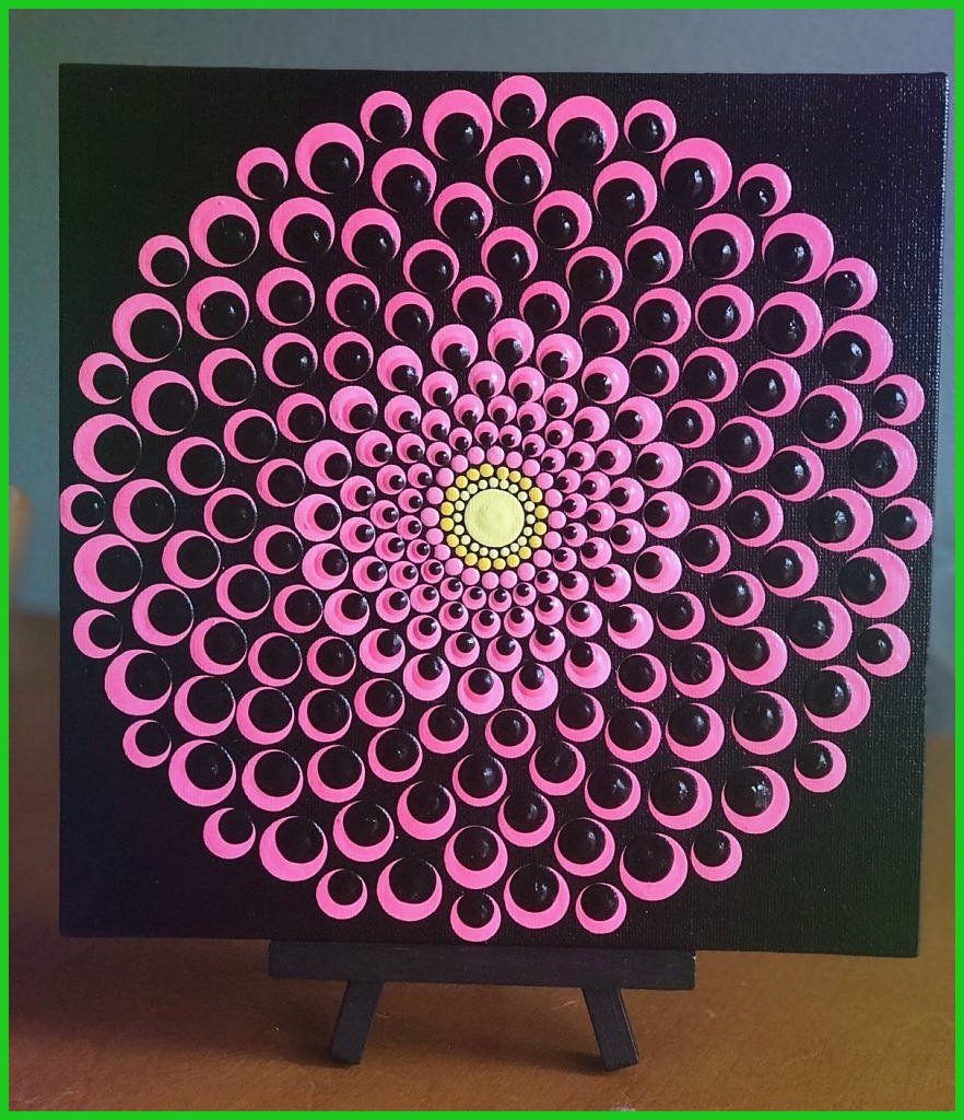 blühende dahlie punkt mandala auf leinwand 8 x 8 pink